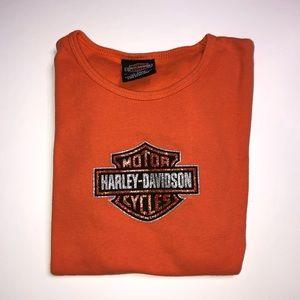 Vintage y2k Bling Harley Davidson Baby Tee